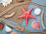 Seashells, ship rope and burlap