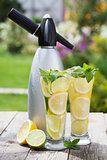 Homemade lemonade and siphon