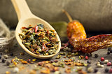 Spices in the spoon with chilli