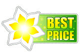 best price green label with spring flower