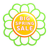 big spring sale green orange flower label