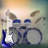 Abstract music background with electric guitar and drum kit