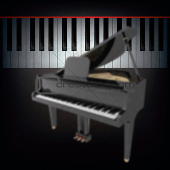 abstract black background with grand piano