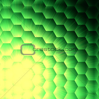 abstract yellow lights in green hexagons background