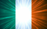 Irish flag with light rays