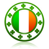 Irish flag in circle with shamrocks