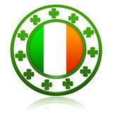 Irish flag in circle with shamrocks