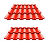 Red corrugated tile element of roof