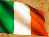 Irish flag over old paper background