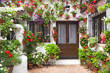Flowers Decoration of Vintage Courtyard,  Spain, Europe