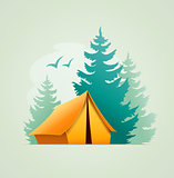 Tent in forest camping