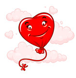 Red heart flying among clouds