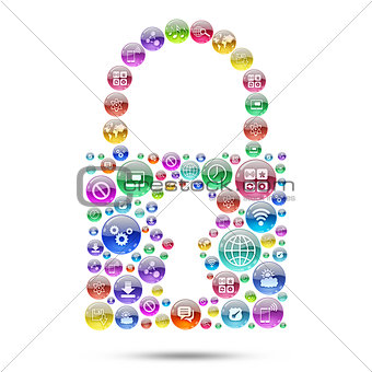 Silhouette padlock consisting of apps icons