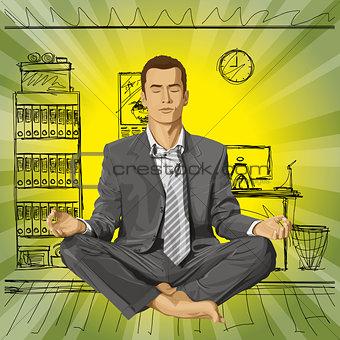 Vector Businessman in Lotus Pose Meditating