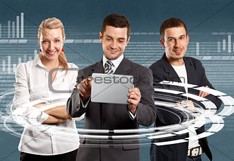 Business Team With Touch Pad
