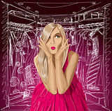 Vector Surprised Blonde in Pink Dress