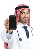 Arab saudi doctor man displaying a smart phone application