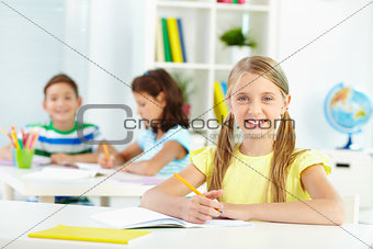 Schoolchild at desk
