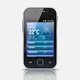 Mobile phone with Weather widget app, eps 10
