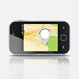 Mobile phone with map and pin, eps 10