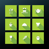 Vector flat restaurant icon set