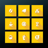 Vector flat coffee icon set