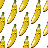 Seamless pattern of happy ripe yellow bananas