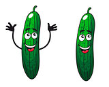 Comic happy green cucumbers and gherkins