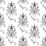 Repeat seamless pattern of persian floral motifs