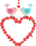 Heart frame with cute birds on floral heart