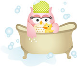 Owl Taking a Bath