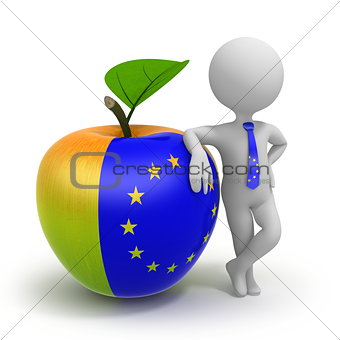 Apple with United Europe flag and businessman
