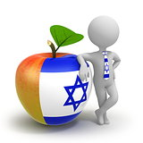 Apple with Israel flag and businessman