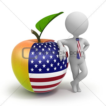 Apple with USA flag and businessman