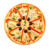 Pizza with chicken, pepper and olives