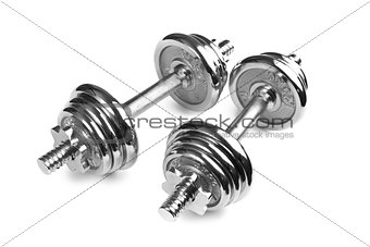 Chromed fitness dumbbells