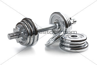 Chromed fitness dumbbell