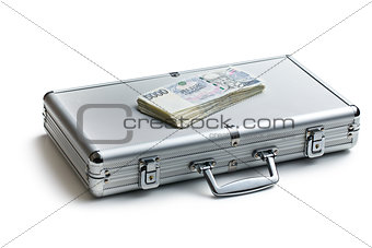 czech money on aluminium case