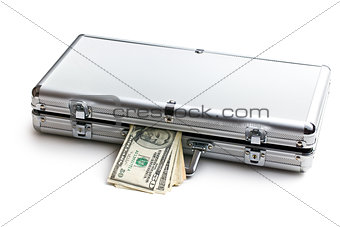 case with dollars on white background