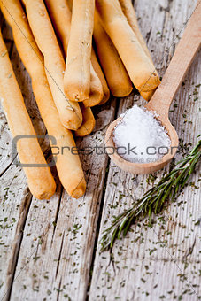 bread sticks grissini with rosemary and salt