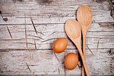 spoons and brown eggs