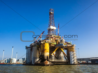 Oil rig in Esbjerg harbor, Denmark