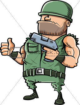 Cartoon soldier giving a thumbs up