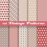 Vintage different vector seamless patterns (tiling)