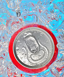 Soda can in ice