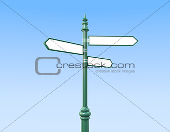 Classic Sign Post and three Signs sky