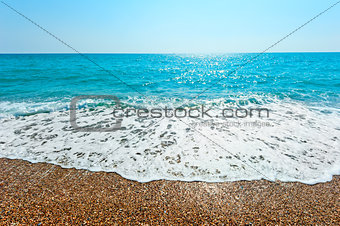 foamy wave rolls on a sandy beach