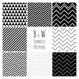 Seamless geometric hipster background set.  Black and White Seamless Patterns.