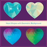 Heart Shapes with Geometric Grunge Background Set. Hipster Style. Vector Illustration