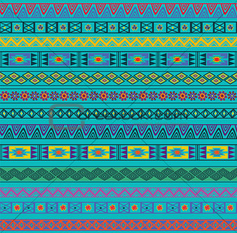 Abstract Ethnic Seamless Geometric Pattern. Vector Background. Colorful. Illustration